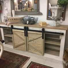 Available * Barn Door Media Cabinet Media Cabinet, Consoles, Farmhouse Style, Islands, Repurposed, Entryway Tables, Barn, Woodworking, Rustic