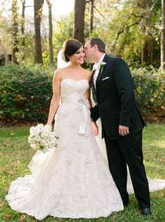 Strapless Rivini Lace Wedding Gown With Silk Sash