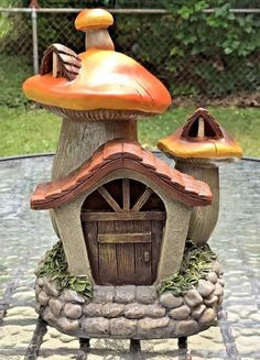 Image result for miniature mushroom houses drawing
