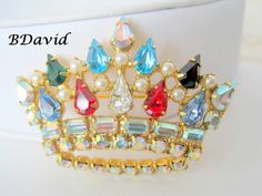 B.David Crown Brooch Rhinestone Large  Pin