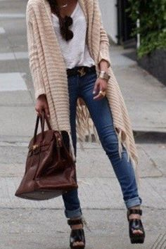 ♥ comfortable sweater, tee, awesome YSL belt, denim, chunky gold jewelry, cool shades, structured bag... all grounded by chunky, strappy peep toes