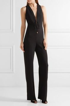 Cushnie et Ochs - Claudia Lace-up Crinkled Stretch-crepe Jumpsuit - Black - US