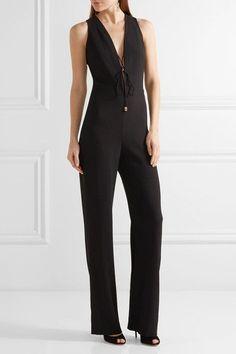 Cushnie et Ochs - Claudia Lace-up Crinkled Stretch-crepe Jumpsuit - Black - US