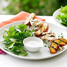 Grilled Chicken and Peach Kebab Salad. could do this primal.