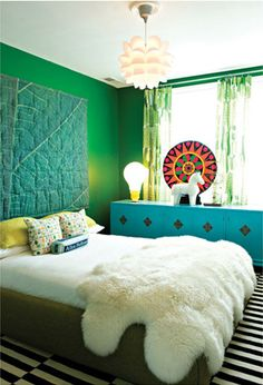 Mint Green Walls with Turquoise Sideboard Cabinet , Yellow Pillows and Colorful Accent Pieces . and Black and White Stripe Rug Green Rooms, Bedroom Green, Home Bedroom, Bedroom Decor, Green Walls, Winter Bedroom, Bedroom Interiors, Bedroom Plants, Bedroom Office