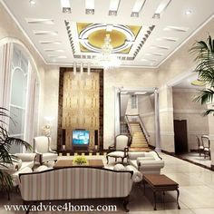 Large White Pop Ceiling Designs in White for living rooms