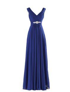 Amazon.com: Yougao Women's V Neck A-Line Chiffon Long Floor Length Evening Dress Gown: Clothing