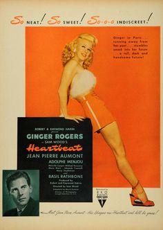 1946 Ad Heartbeat Robert Raymound Hakim Ginger Rogers - ORIGINAL ADVERTISING LF3