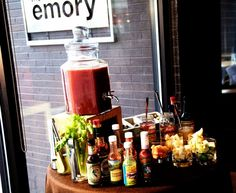 Bloody Mary bar, with McClure's mix, duh.