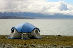 Tent on a beach in Homer, Alaska.