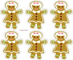 Gingerbread girl ornaments or gift tags. String together to make a garland.