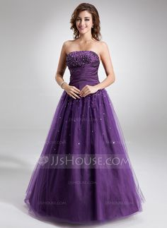 Ball-Gown Strapless Floor-Length Taffeta Tulle Quinceanera Dress With Ruffle Beading (021004574)
