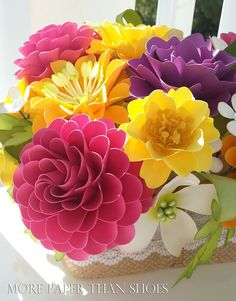 Paper Flower Centerpiece Table Arrangement by morepaperthanshoes