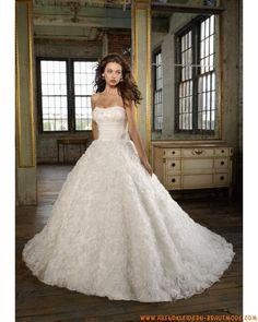Luxuriöse Brautmode aus Organza und Satin A-Linie mit Schleppe