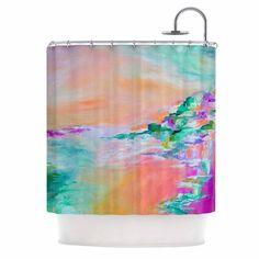 "Ebi Emporium ""Something About the Sea 4"" Teal Orange Shower Curtain"