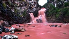 This Pink Waterfall Is Canada's Coolest Hidden Gem (Photos) featured image Dream Vacations, Vacation Spots, The Places Youll Go, Places To See, Voyage Canada, Alberta Travel, Waterton Lakes National Park, Parks Canada, Canada Canada