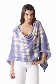 Part scarf, part sweater, the Tie-Dye Poncho is the new best thing ever! Super cool tie-dye colors with an asymmetrical shape give this poncho a hip, bohemian feel.