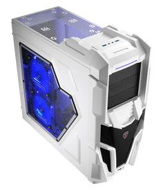 Mechatron White Gaming Case Side Window Blue LED Fan - Computer Products Online Ltd Gamers, Side Window, Dvd, Pc Gamer, Washing Machine, Youtubers, Home Appliances, Windows, Technology