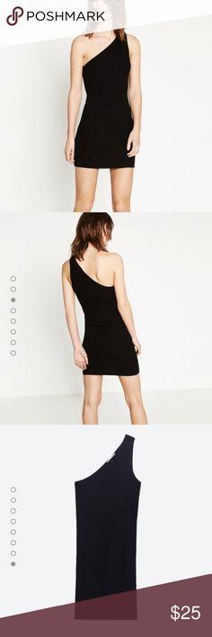 Zara dress  Zara asymmetric neckline dress, ribbed cotton, brand new! Can fit XS Zara Dresses Mini