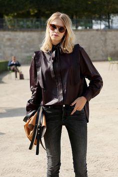 leather & denim. Lena acing it again in Paris. #ElenaPerminova