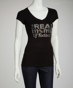 """Bring new meaning to the term """"beaming with pride"""" with this rhinestone-adorned tee. Soft, stretchy and cut for curves, this American-made number puts a feminine touch on football fan attire.Measurements: 24'' long from high point of shoulder to hemCottonMachine wash; hang dryMade in the USA"""