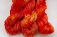 """Organic 100% bamboo yarn """"Fire"""" vegan, hand dyed yarn, 10.6oz"""