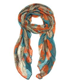 Look what I found on #zulily! Turquoise Poppy Floral Scarf #zulilyfinds