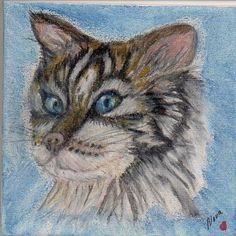 SFA Square Art 4x4in Orig Painting Draw Pencil Watercolor Kitten Cat Nova Hart #Realism