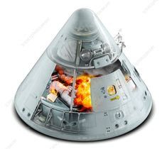 This fire, in the command module of the Apollo 1 spacecraft, occurred on 27 January 1967 during a routine simulated launch test. Apollo Space Program, Nasa Space Program, Space Projects, Space Crafts, Space Shuttle Disasters, Apollo 1, Apollo Spacecraft, Fire Cover, Project Mercury