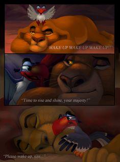 Wake Up. by NostalgicChills on DeviantArt Disney Pixar, Sad Disney, Disney Memes, Disney Fan Art, Disney And Dreamworks, Disney Animation, Lion King 1, Lion King Fan Art, Lion King Movie