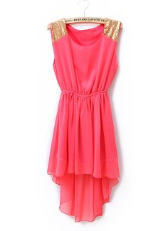 Sequined Solid Waist Irregular Chiffon Dress Red