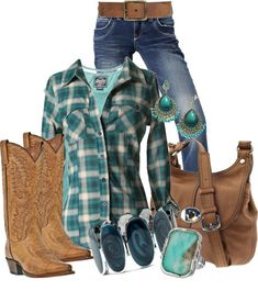 I've always loved plaid shirts and cowgirl boots.  This is the perfect outfit! :)