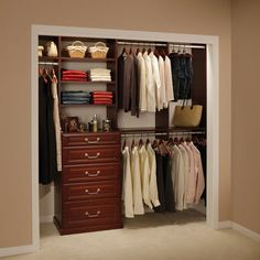 Small Closet ideas... going to do something like this and use curtains to hand inside rather than closet doors