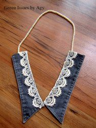 Denim collar necklace.