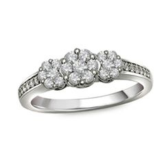 0.50 CT. T.W. Diamond Cluster Three Stone Ring in 10K White Gold  - Peoples Jewellers