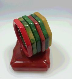 6  3.8'' Octagon Vintage Bakelite Bracelets . by BakeliteMystique
