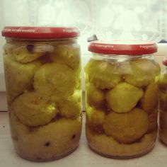moniczka w kuchni: PRZETWORY. Ogórki lub patisony w  musztardzie. Pickles, Cucumber, Food And Drink, Snacks, Cauliflowers, Pickle, Zucchini, Treats, Finger Foods