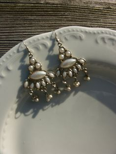 Vintage earrings  in metal silver color  made in india by ShaLili, $13.00