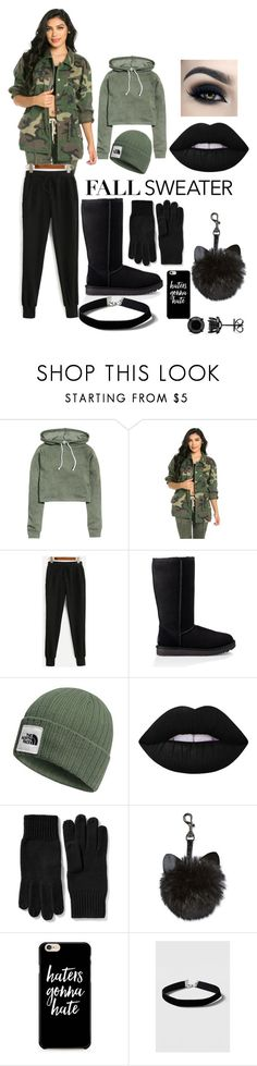 """""""Lazy Warm"""" by amanuppal ❤ liked on Polyvore featuring UGG, The North Face, Lime Crime, Too Faced Cosmetics, Old Navy, Caso and Topshop"""