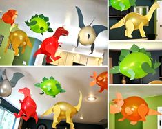 Dinosaur Party Costume, Dinosaur Birthday Party, 3rd Birthday Parties, Dinosaur Ballons, Cardboard Crafts Kids, Fall Preschool Activities, Garden Labels, Party Fiesta, Fete Halloween