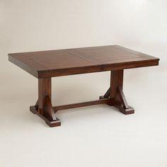 """Need a dining table that's less than 72"""" long.  Tiny dining room =)    World Market - Mahogany Verona Trestle Table - v2"""