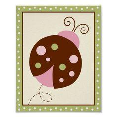 A la Mode Ladybug Nursery Wall Art Print 8X10