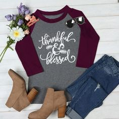 e96426aea24 Thankful Grateful Blessed Arrow Letter Printed T-Shirt Shirt. Inspire Uplift