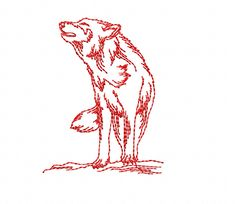 Howling Wolf 2 - Redwork - Machine Embroidery Design in 3 sizes - INSTANT DOWNLOAD by TedandFriends on Etsy