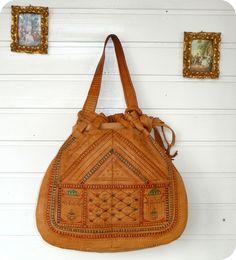 efd2c0474ea1e Vintage LEDER Tasche Handtasche Leather Bag Folklore Hippie Marokko Beutel  Boho in Kleidung   Accessoires