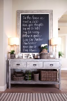 Love everything about the chalkboard, the verse, the distressed table underneath, everything. Warm and welcoming! house design design home design interior design 2012 interior design Decoration Entree, Board Decoration, Sweet Home, In This House We, Home And Deco, Rustic Decor, Rustic Entryway, Entryway Ideas, Rustic Table