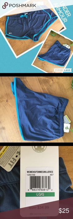 😃UNDER ARMOUR heat gear NWT size L shorts😃 😃UNDER ARMOUR heat gear women's size large NWT grey with blue trim compression short. 😃 Under Armour Shorts