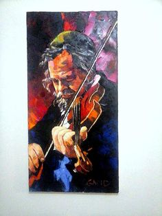 Musician Abstract Pallette Knife  Painting Made by art4heart2014