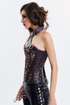 Pirate Corset, Steampunk Corset, Gothic Corset, Sexy Corset, Overbust Corset, Steampunk Costume, Black Bustier, Leather Armor, Gothic Outfits