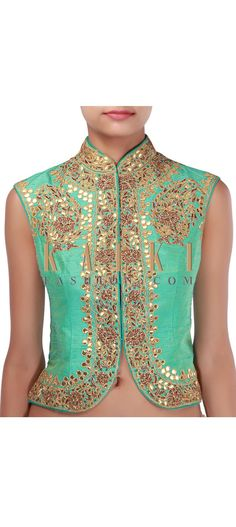 Turquoise two-toned jacket blouse embellished in gotta patti and zardosi only on Kalki Indian Bridal Wear, Indian Wedding Outfits, Indian Outfits, Indian Clothes, Indian Blouse, Indian Ethnic Wear, Indian Sarees, Choli Designs, Saree Blouse Designs